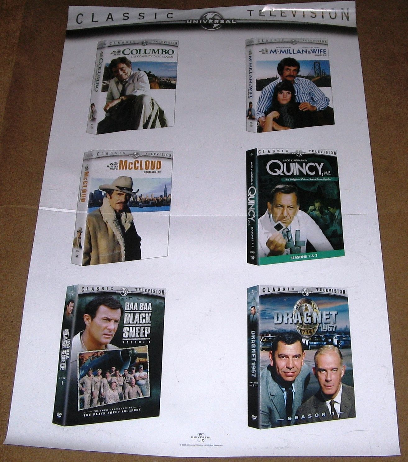 Universal Classic TV Series Movie DVD Poster 27x40 Used Quincy, Dragnet, Columbo, McMillan and Wife, McCloud, Baa Baa Black Sheep