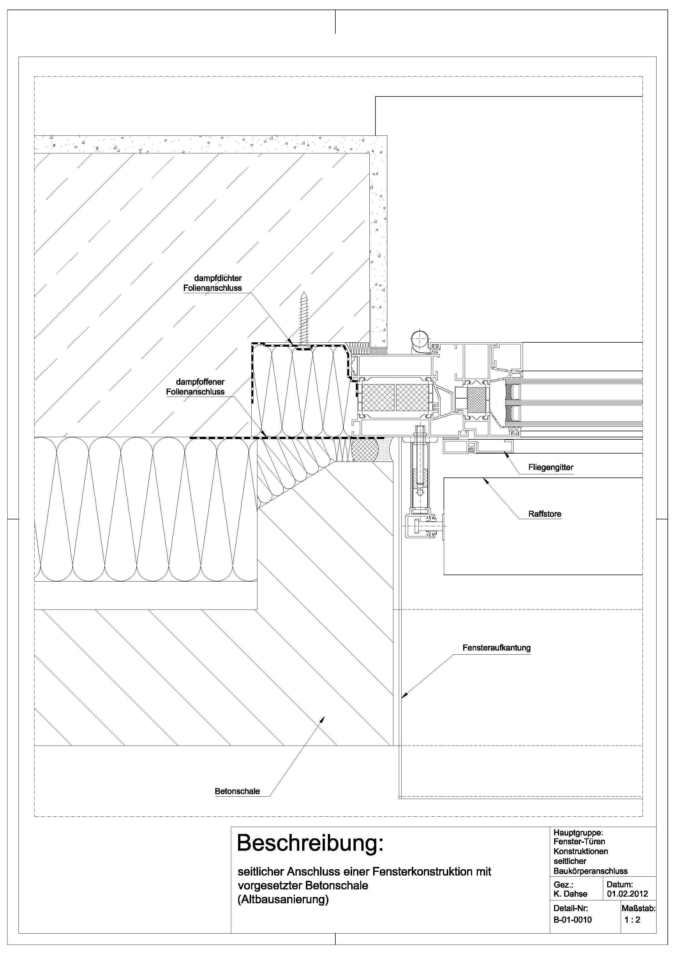 Tür detail anschluss  B-01-0010 Anschluss einer Fensterkonstruktion mit vorgestetzter ...