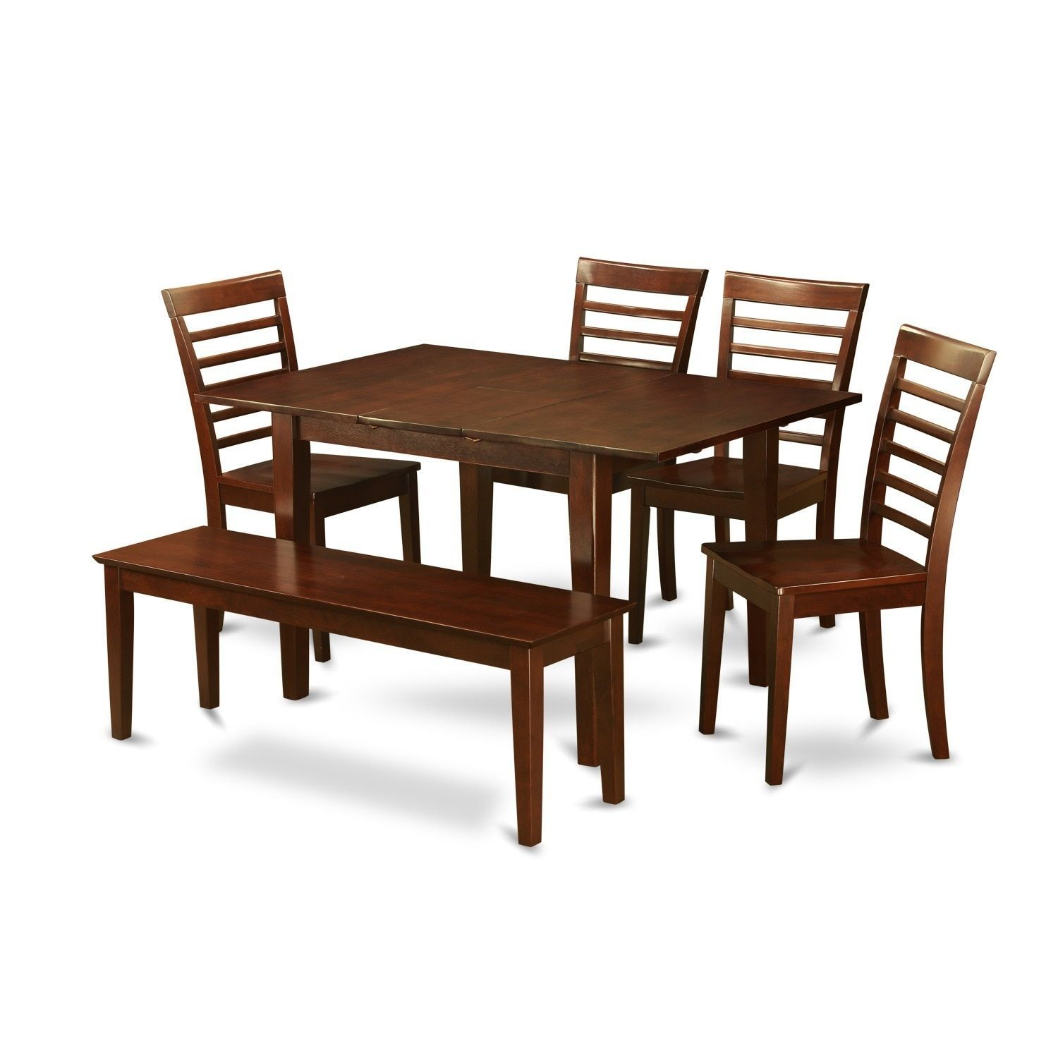 6-piece Small Table and 4 Kitchen Chairs and Dining Bench (Wood seat ...