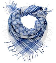 7e4891aaaff70 Blue-and-white Israelite Keffiyeh scarf [Hebrew lettering says,