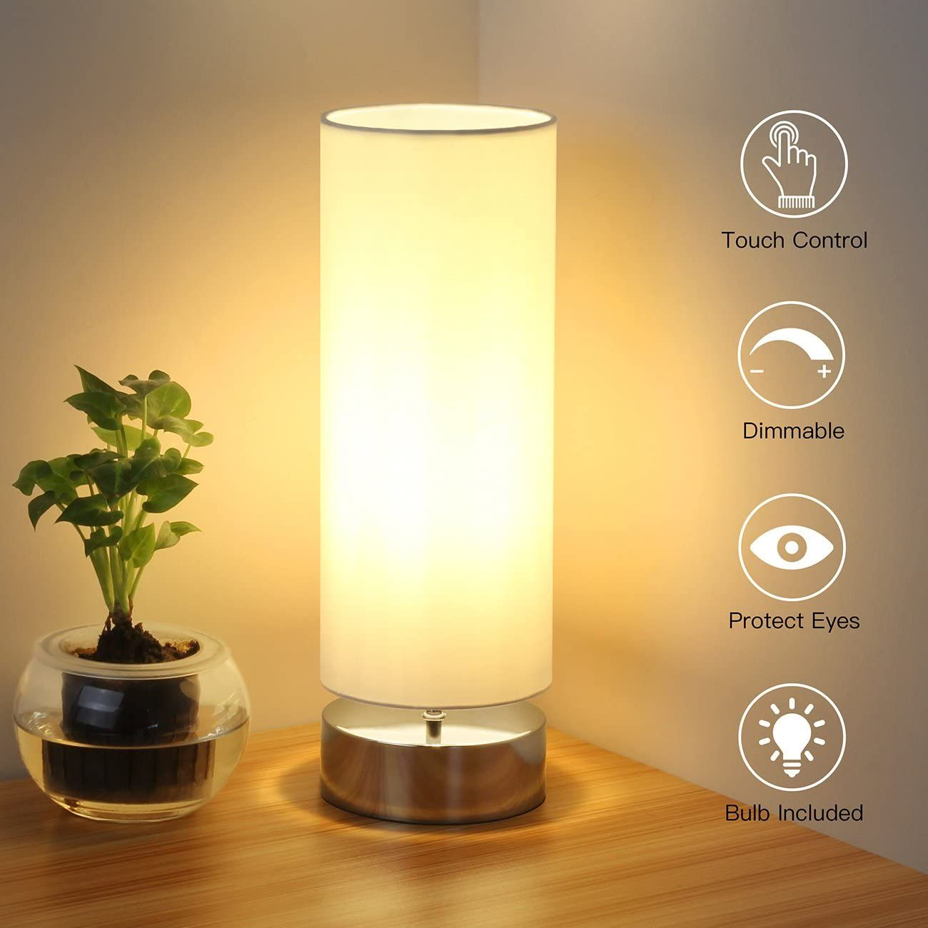 Touch Control Table Lamp Bedside Minimalist Desk Lamp Modern Accent Lamp Dimmable Touch Light Wit In 2020 Minimalist Desk Lamp Antique Lamp Shades Painting Lamp Shades