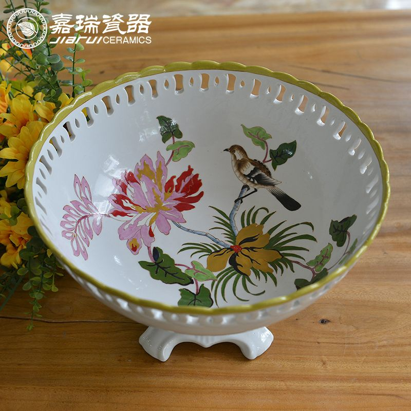 Footed Porcelain dry fruit decoration tray, View large porcelain fruit bowls, JIARUICERAMICS Product Details from Ji'an Jiarui Industry Co., Ltd. on Alibaba.com