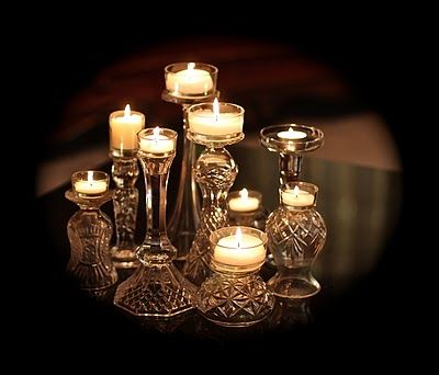 Thrift Store Candle Holders And Wine Glasses Topped W Tea