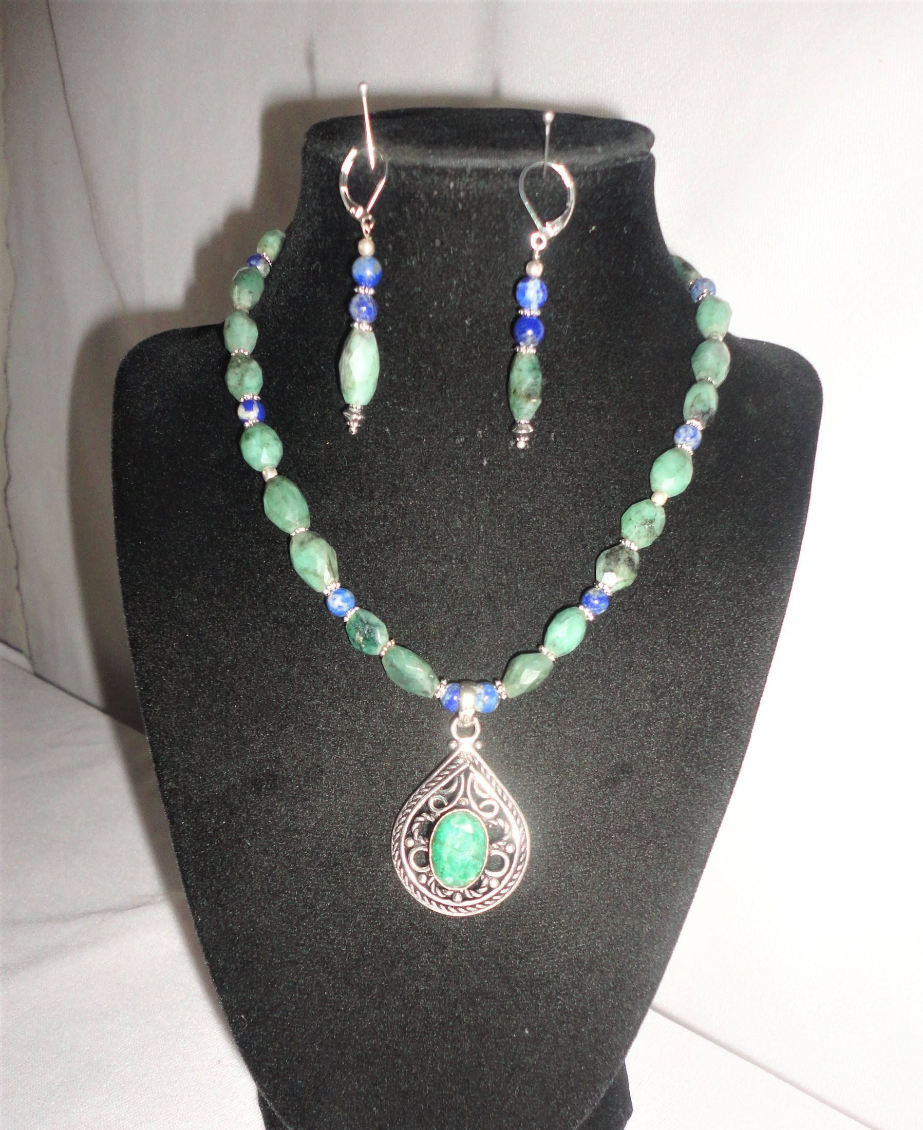 Oval faceted emeralds round sapphire silver emerald pendant necklace