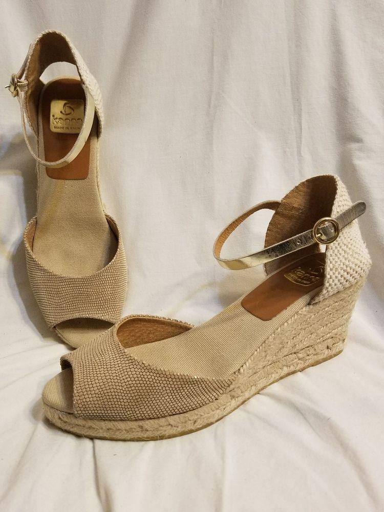 b4ce5a7d2c3d kanna Spain espadrille 10 M Evite nude beige leather peep toe wedge sandal   KANNA  Espadrilles