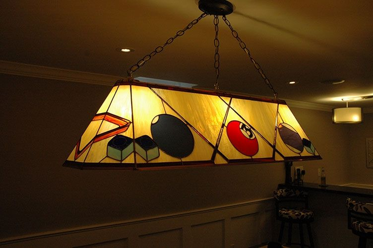 Custom Stained Glass Pool Table Lamp Lamparas Tiffany Pinterest