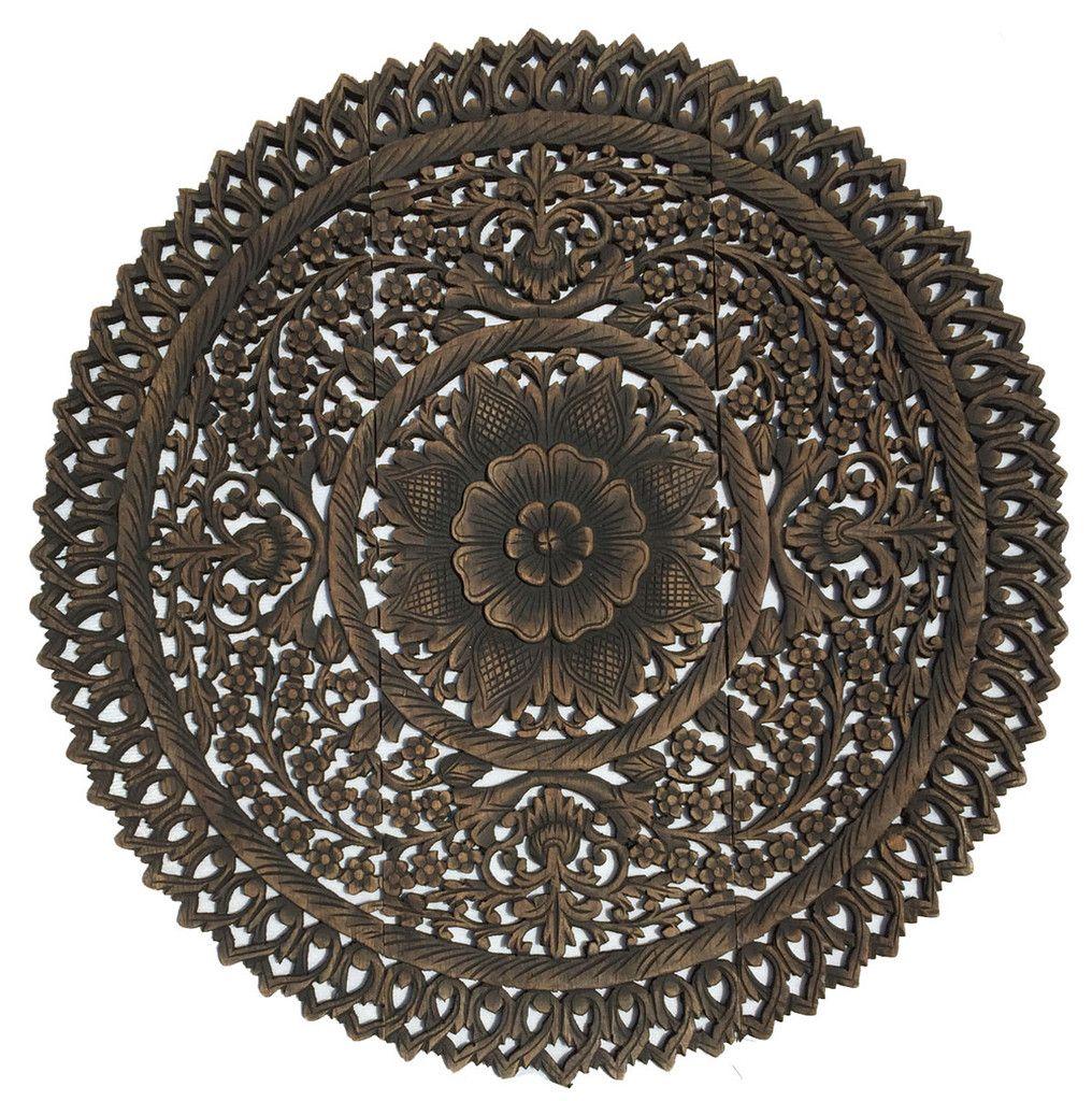 Elegant medallion wood carved wall plaque round wood carved floral