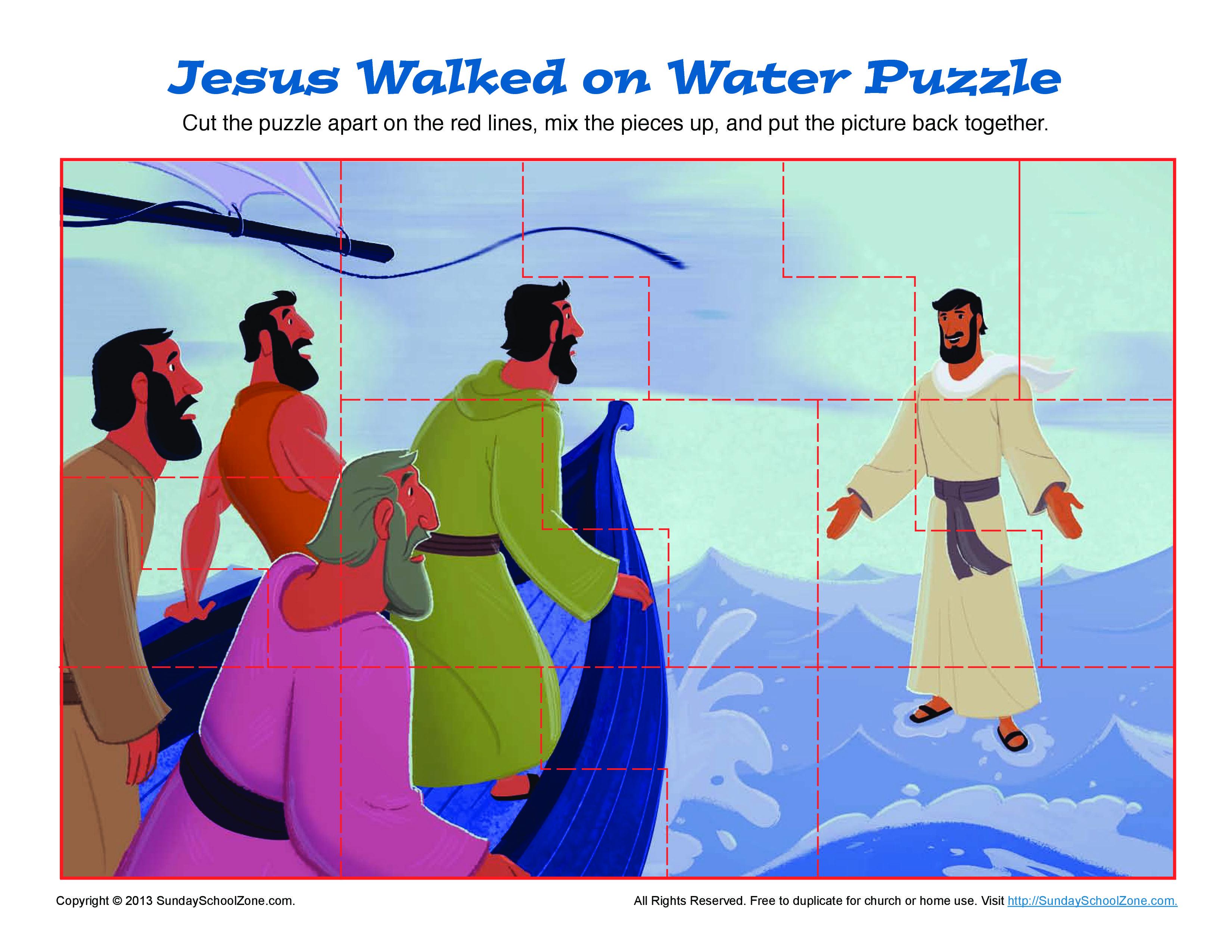 Jesus Walks on Water Puzzle | Water, Sunday school and Bible activities