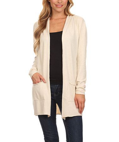 This Cream Elbow-Patch Hooded Cardigan is perfect! #zulilyfinds ...