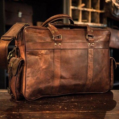f6da2d9ab5cc Everett Vintage Leather Pilot Briefcase Bag - Large