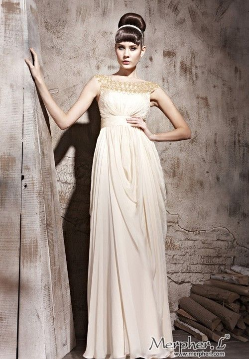 Apricot Round Neck Prom Formal Ball Long Evening Dress