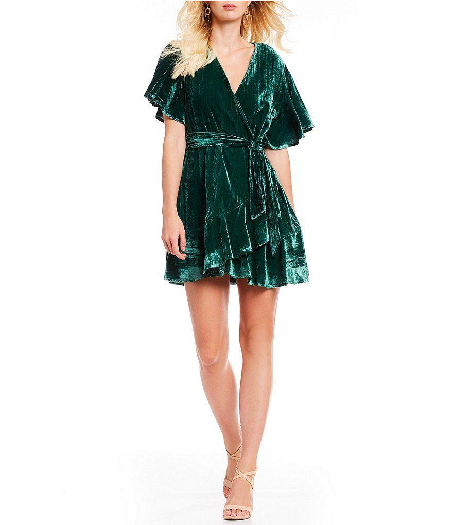 Evening wedding guest dresses  BB Dakota Night Fever Velvet Wrap Dress  clothes  Pinterest