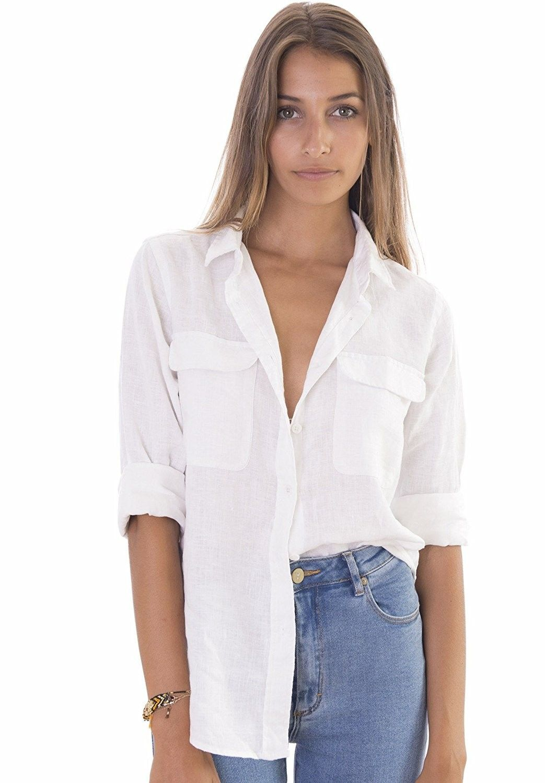 Women's Clothing, Tops & Tees, Blouses & Button-Down Shirts, Women's Linen  Button-Down Two Pockets Shirt Go… | Basic blouses, White shirts women,  Linen shirts women