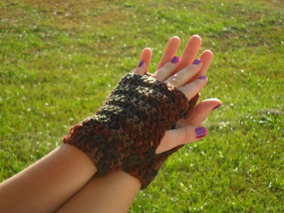 Kylie Wristlets in Earth - Hand Wrist Warmers Fingerless Gloves Gauntlets Mittens - Ready to Ship - FREE US Shipping by LilacsLovables, $12.00