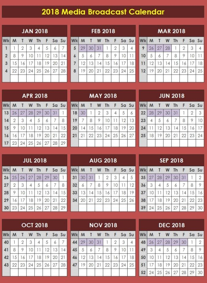 And a 2018 Media Broadcast Calendar for #future planning https - what is a marketing calendar