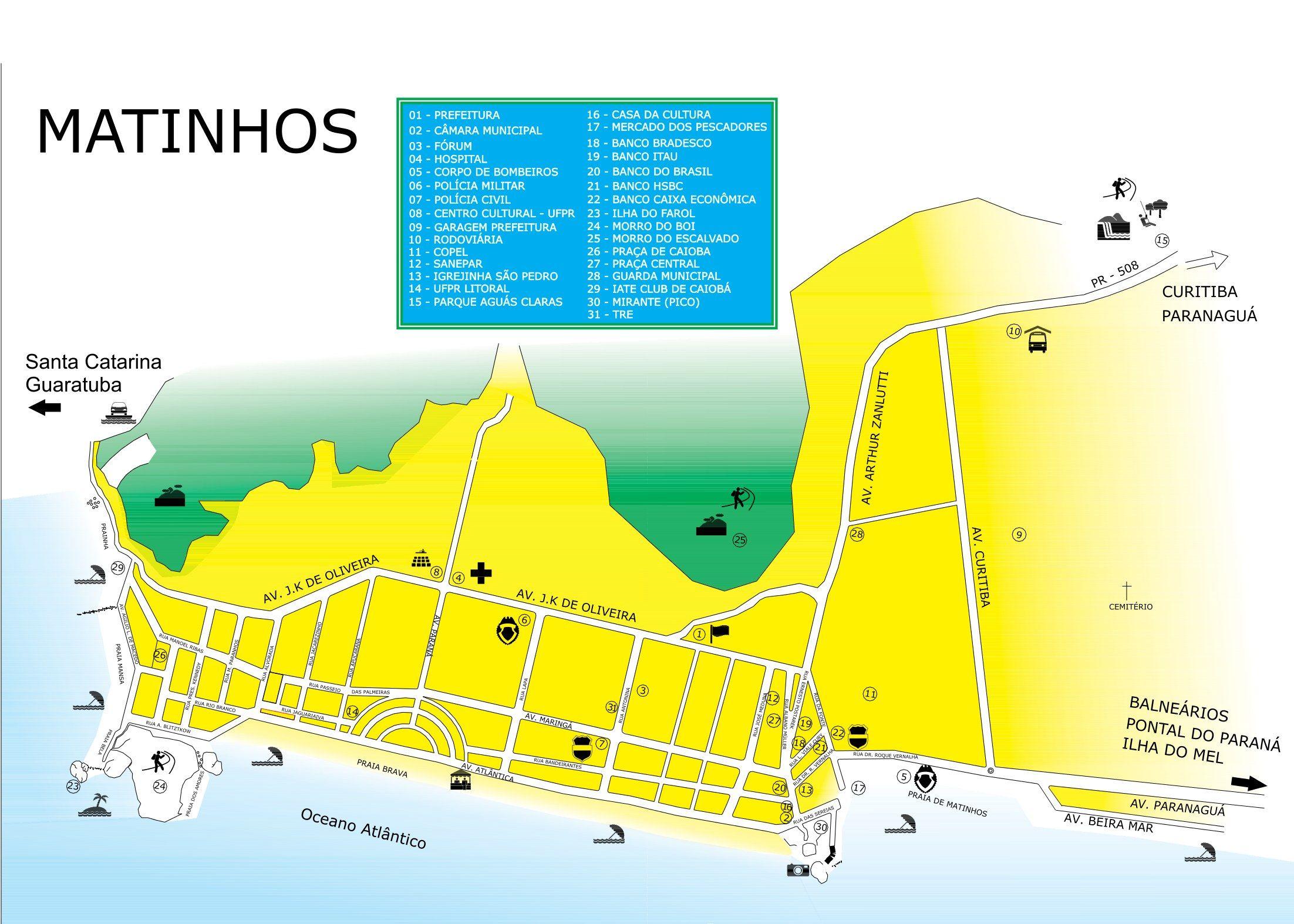 Mapa De Matinhos Matinhos Parana Pontal