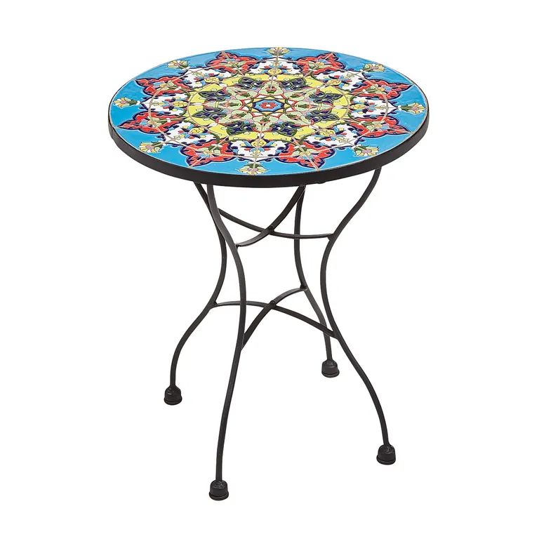 Emilio Blue Accent Table Pier 1 Accent Table Patio Accent Table Painting Ceramic Tiles