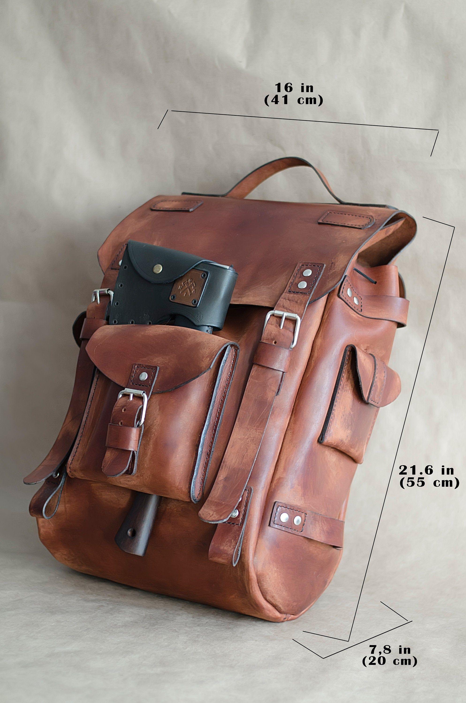 Travel Leather Mens Backpack Brown Laptop Rucksack Etsy Leather Backpack For Men Vintage Leather Backpack City Backpack