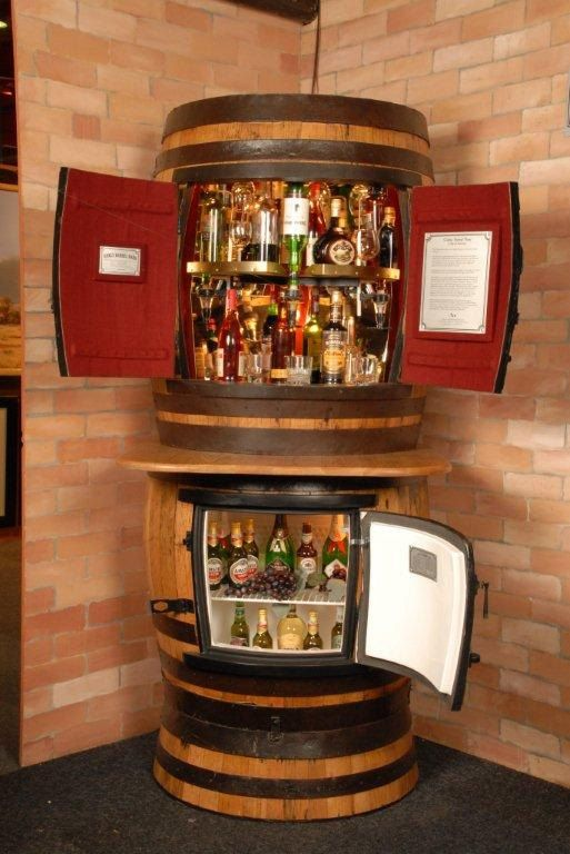 This Is An Awesome Way To Bottles Oakly Rotating Liquor Cabinet Fridge By Oaklybarrelbars