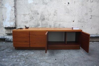 Exquisite Low Sunk Teak Mid Century Sideboard Cabinet Sale For