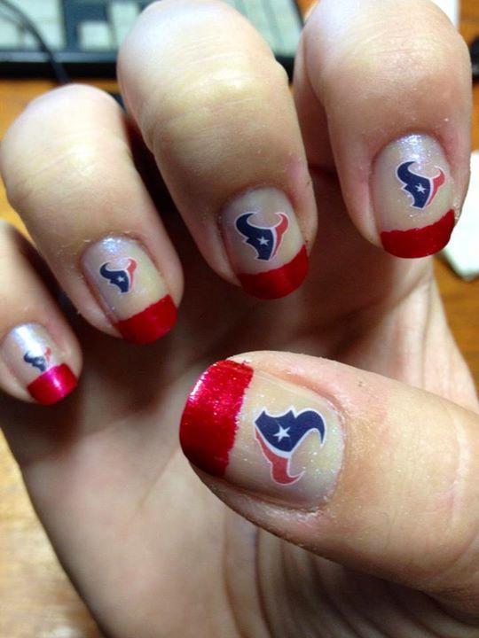 Houston Texans nail art. Red tips with texans logo. | My Nails ...