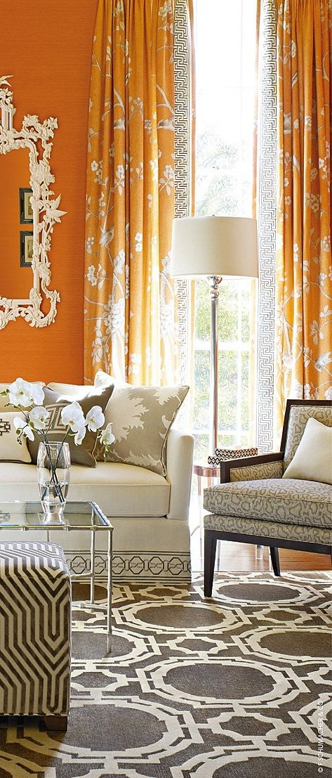 Tangerine Living Room Decor: Wallcovering & Fabric Top Designers