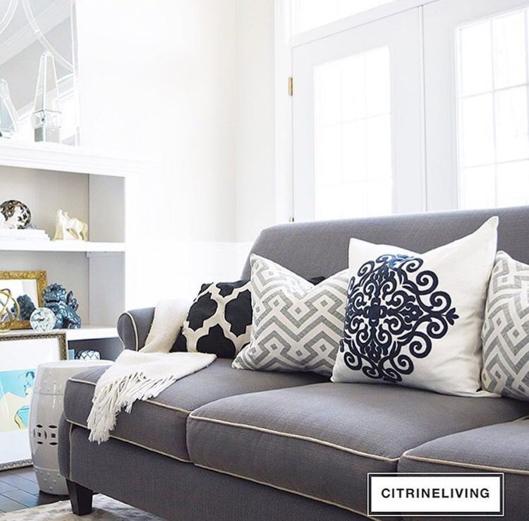 Grey Couch With White Piping Home Decor Couch