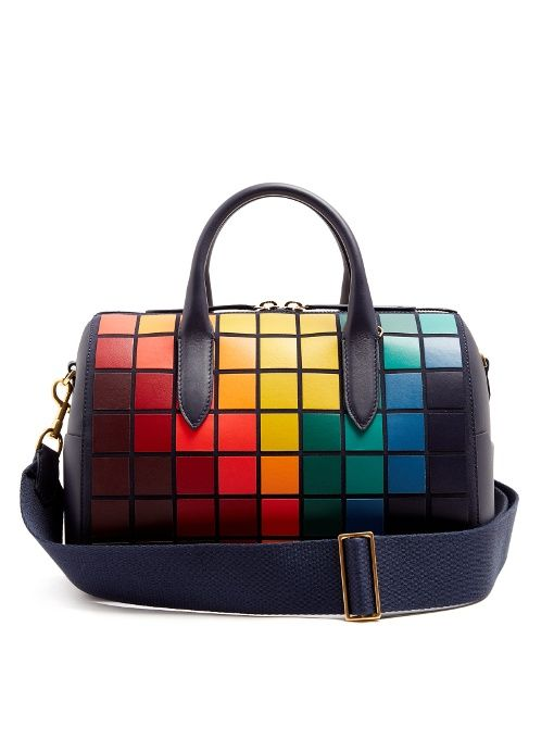 Anya Hindmarch Vere Barrel Pixels Suede And Leather Bag