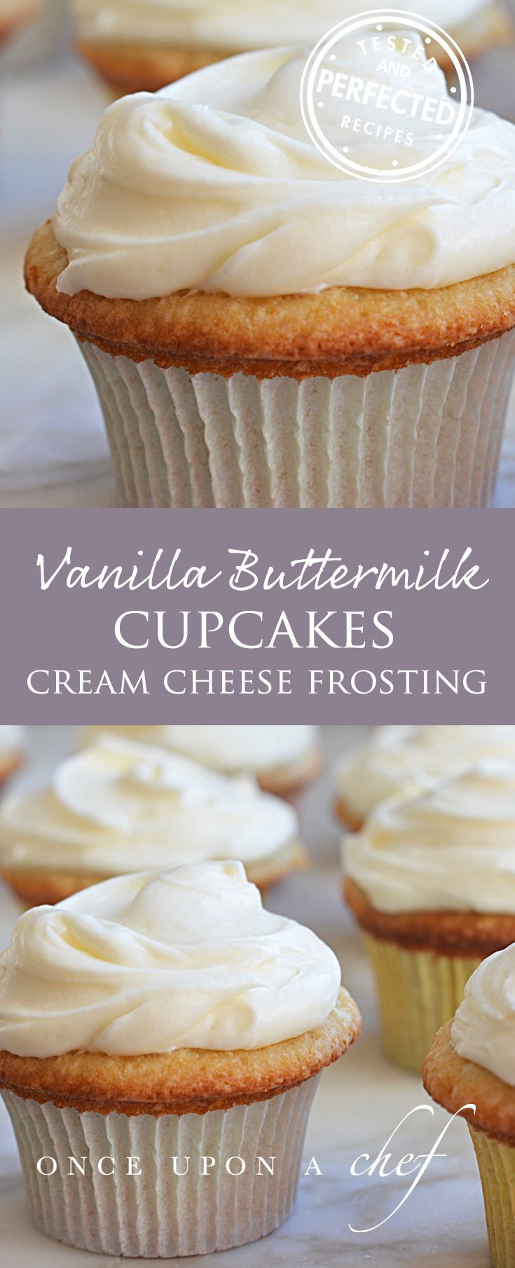 Vanilla Cupcakes with Cream Cheese Frosting - Once Upon a Chef