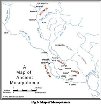 Map of Ancient Mesopotamia. Mesopotamia comes from the