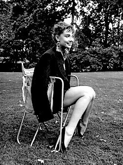 Audrey Hepburn photographed behind the scenes of the movie Sabrina in 1953.