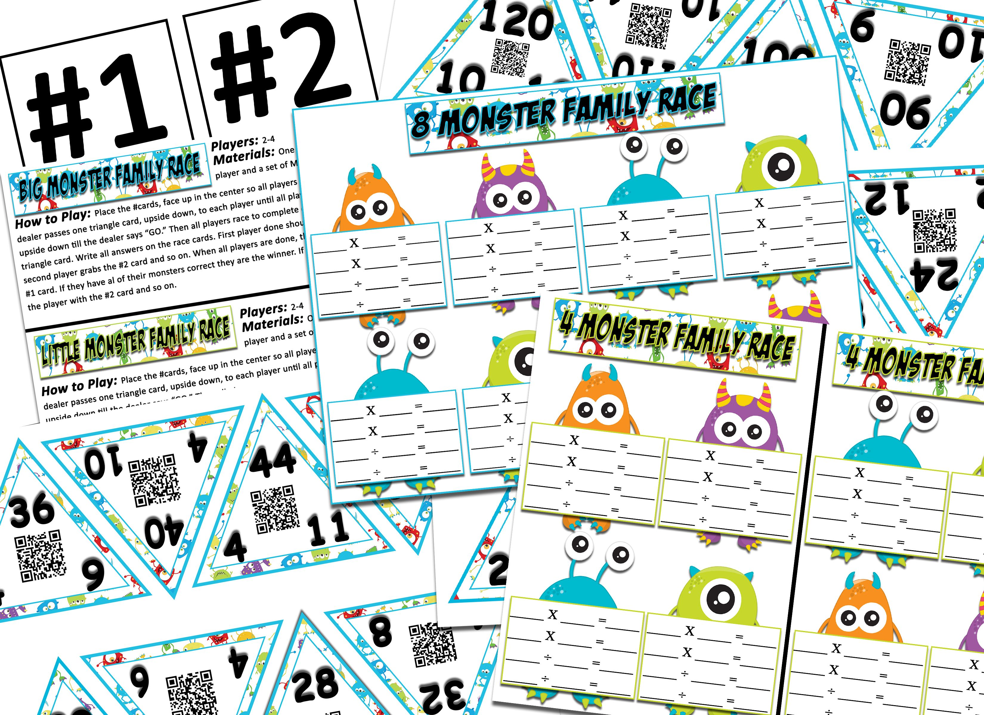 Multiplication Division Monster Themed Fact Family Game