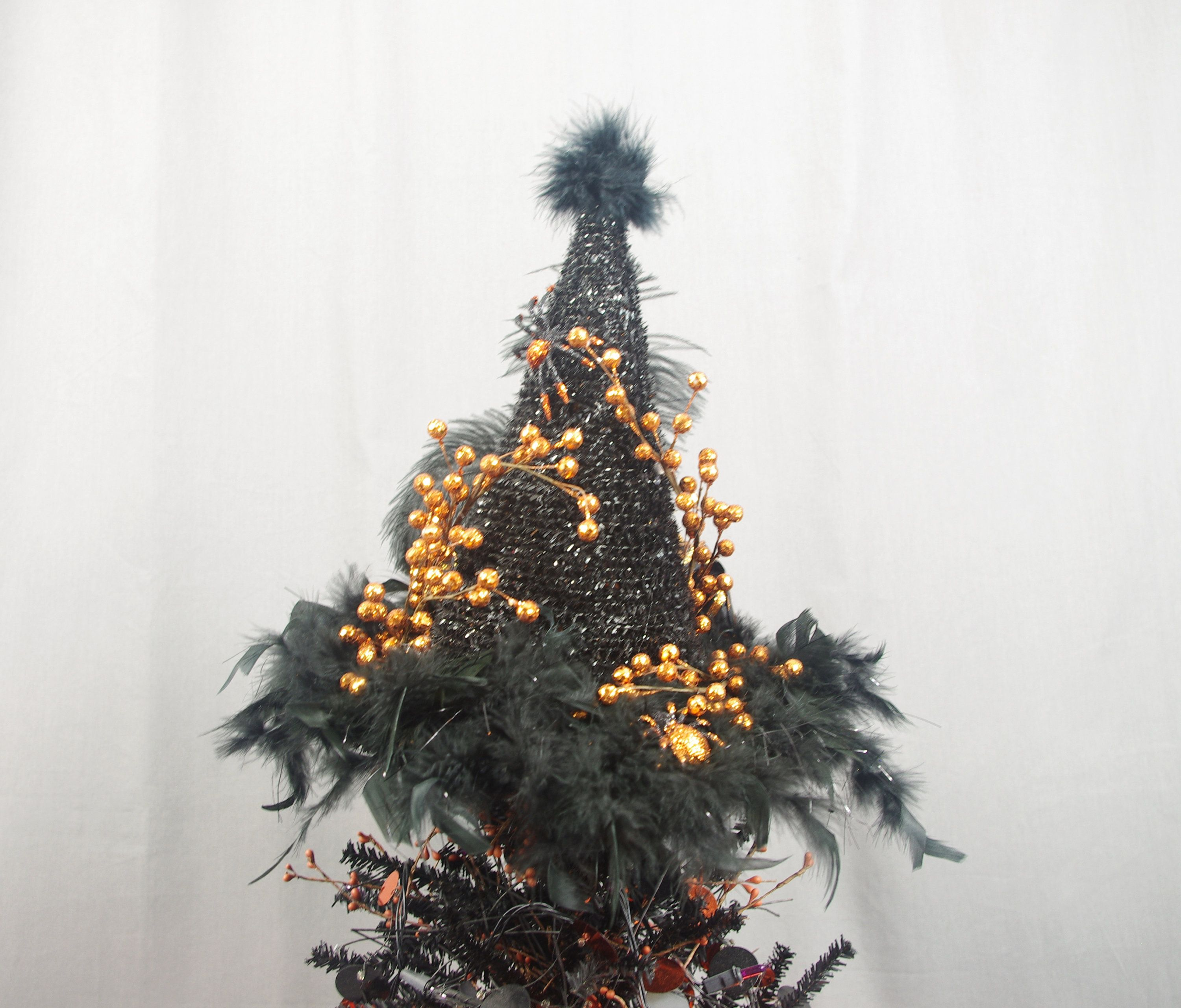 Black and Orange Witch Hat Tree Topper Halloween
