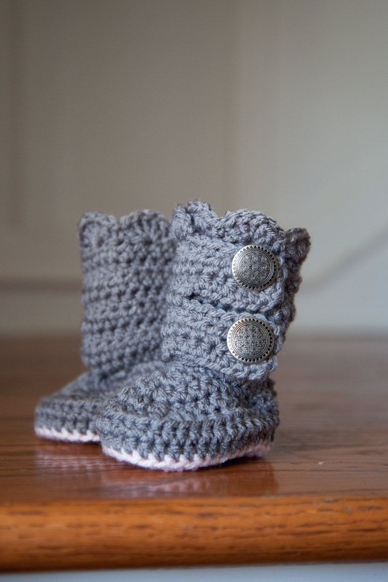 Crochet Grey Bootie with Pink Sole Boot Baby Girl by SlumberSpun, $20.50