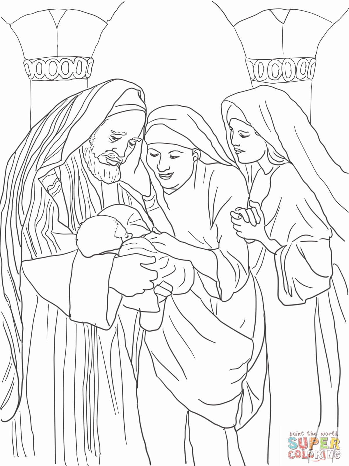 1 Zechariah Elizabeth And Baby John The Baptist Coloring Page Jpg