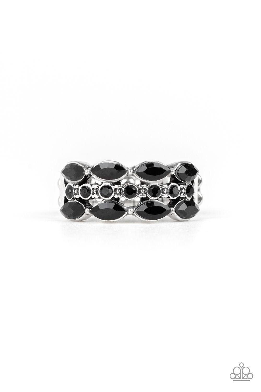 Distractingly Demure Black Black Rings Black Rhinestone Paparazzi Jewelry