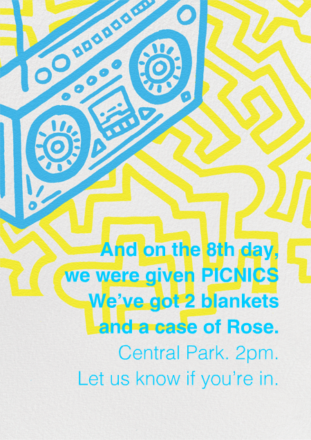 Boombox BlockParty by Paperless Post. Get ready for