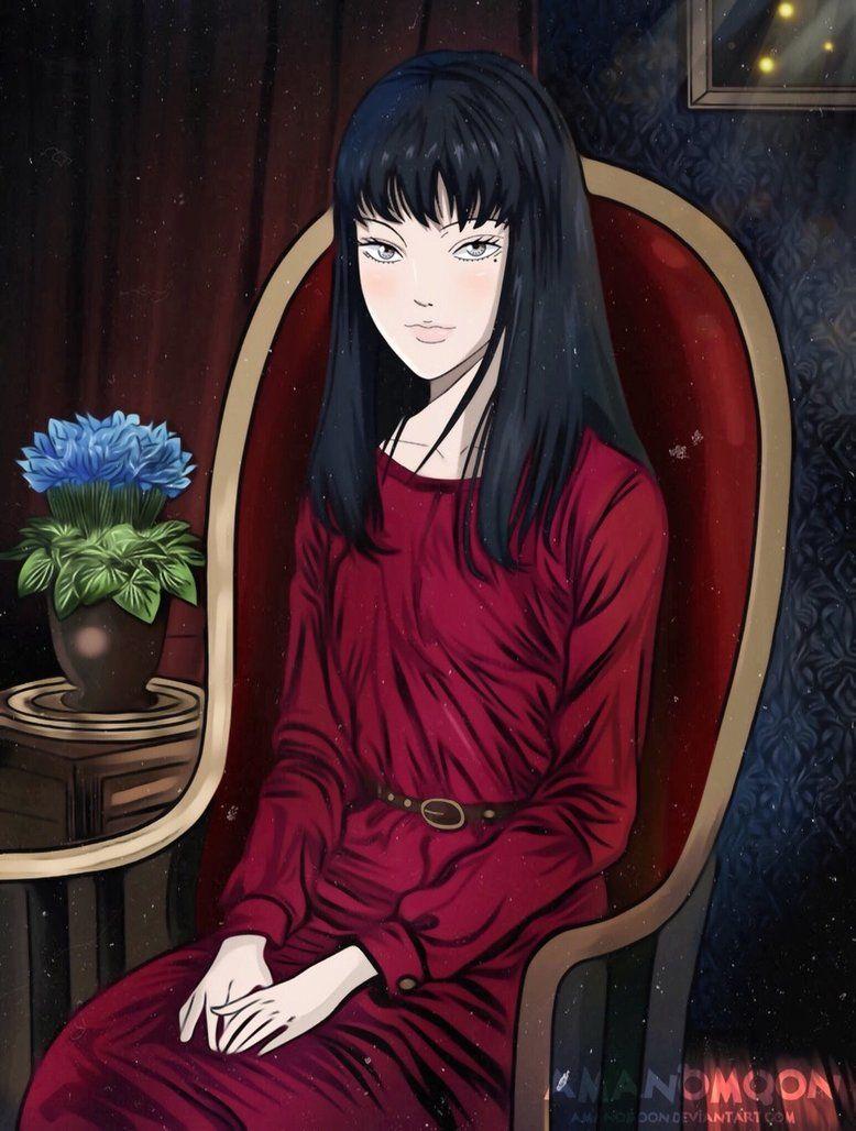 Junji ito anime manga tomi tomie girl red dress by