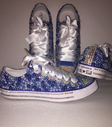 WOMEN S Berry Royal Blue Bedazzle Bling Converse All Star Chuck Taylor  Sneakers Active 7cc58b6da