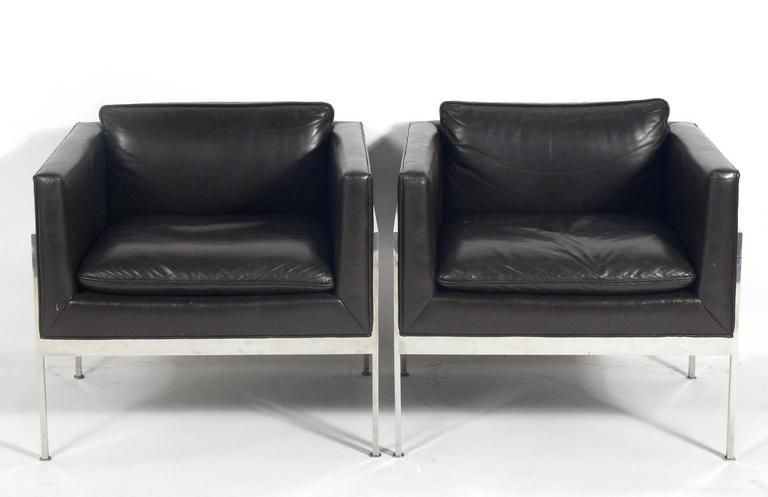 Pair of chrome and leather cube chairs attributed to Harvey Probber American circa 1960s. They are very well constructed with heavyweight chrome frames.  sc 1 st  Pinterest & Pair of Chrome and Leather Cube Chairs Attributed to Harvey Probber ...
