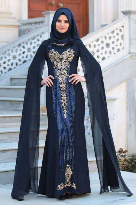 4b0b3a030a0da Tesettürlü Abiye Elbiseler - Pul Payet Detaylı Tüllü Lacivert Abiye Elbise  52573L - Thumbnail