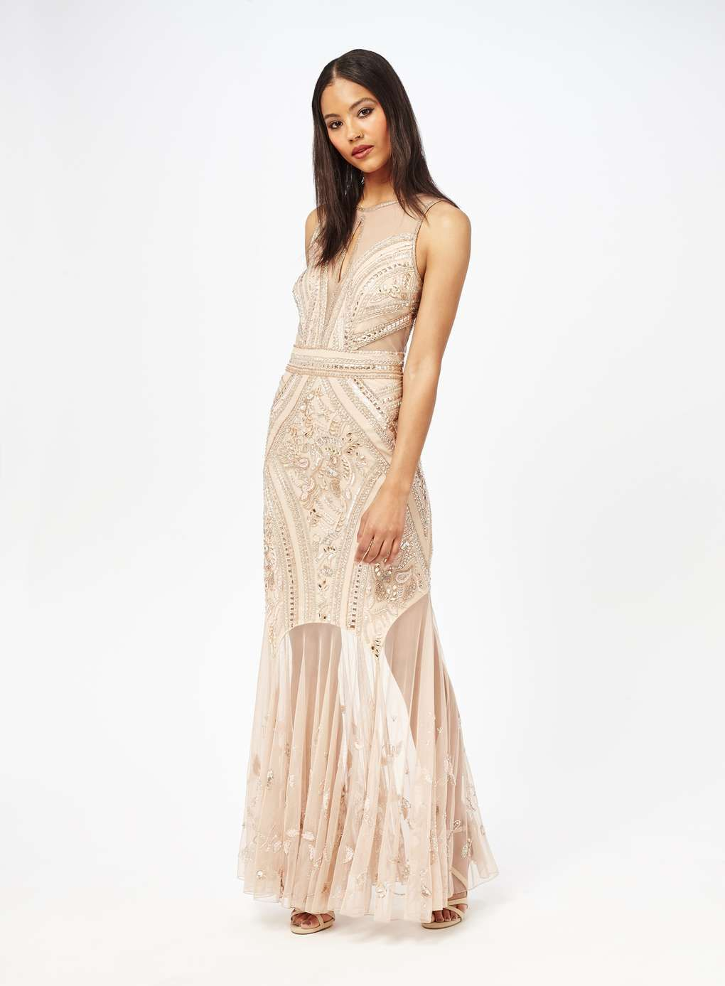 d395771f8ba Nude Embellished Maxi Dress - Miss Selfridge