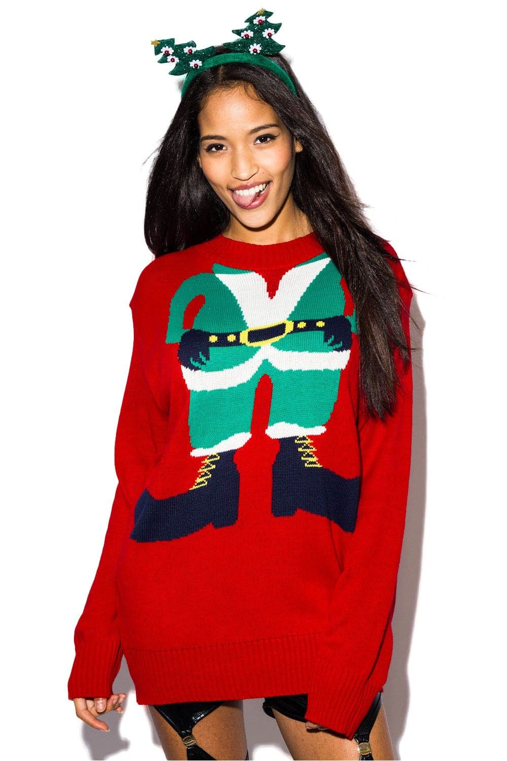 Kersttrui Elf.Red Elf Christmas Sweater Xmas Jumper Holiday Knit Ustrendy