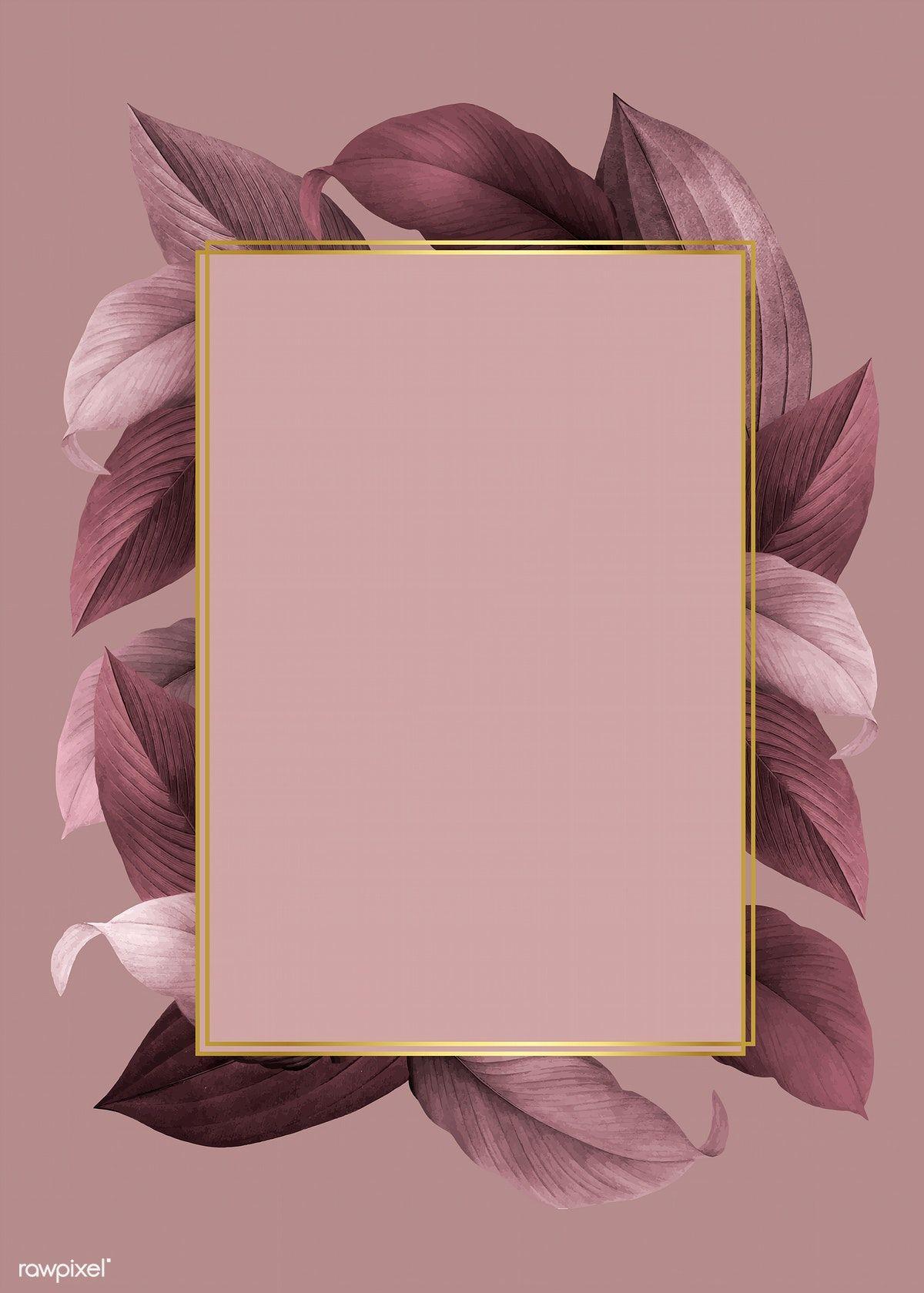 Download Premium Vector Of Golden Frame On A Pink Leafy Background Vector Framed Wallpaper Background Design Iphone Background