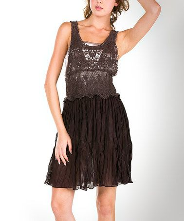 Look at this #zulilyfind! Brown Lace Fit-and-Flare Dress #zulilyfinds
