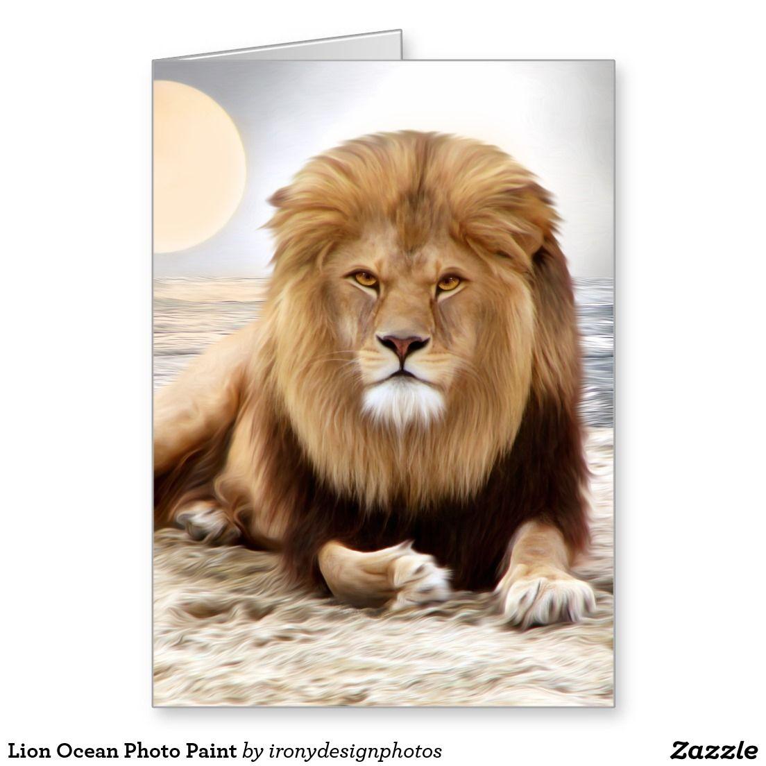 Lion Ocean Photo Paint Greeting Card