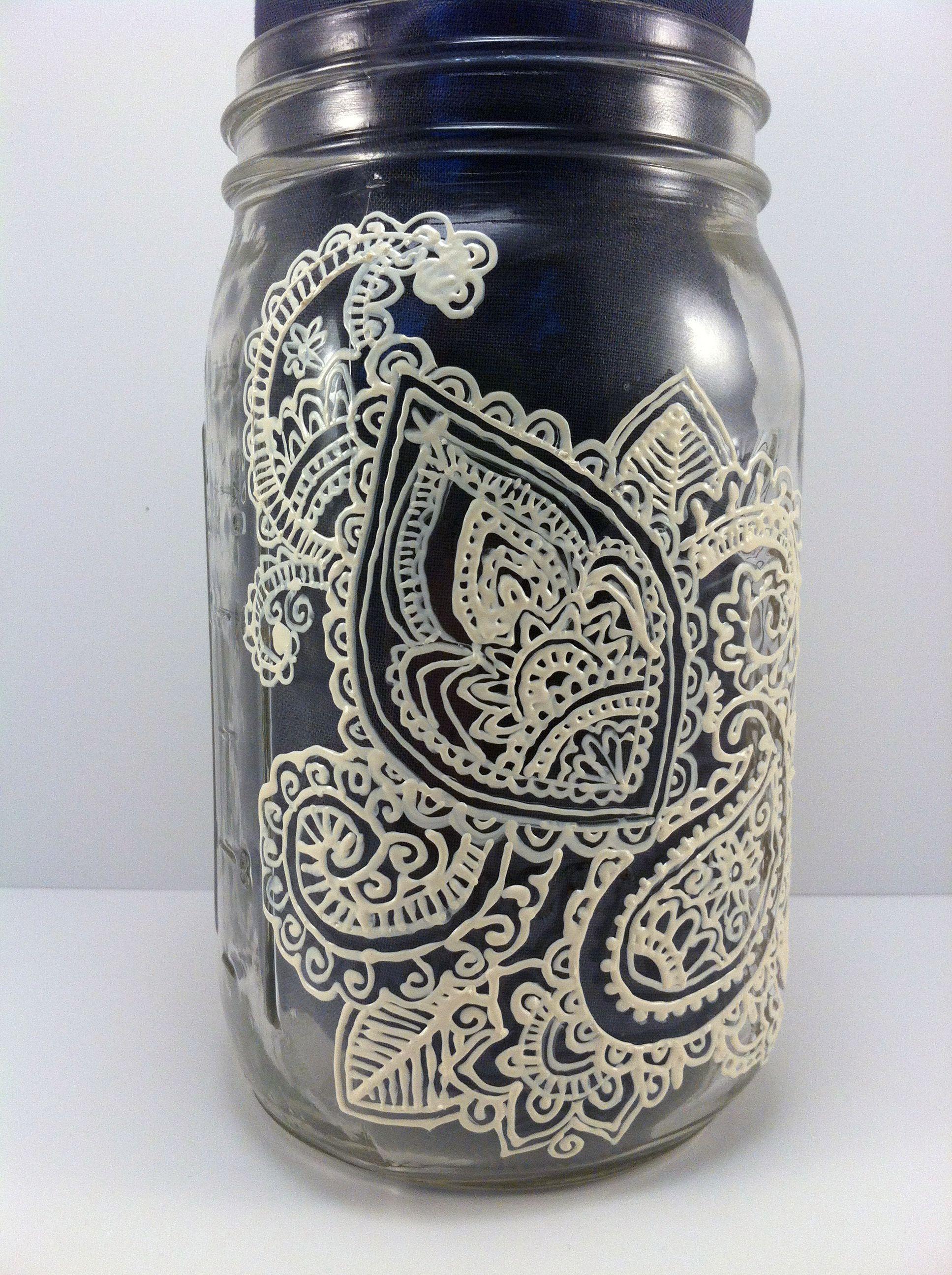 Beautifully Hand Painted Henna Designs On Mason Jars Awesome Etsy