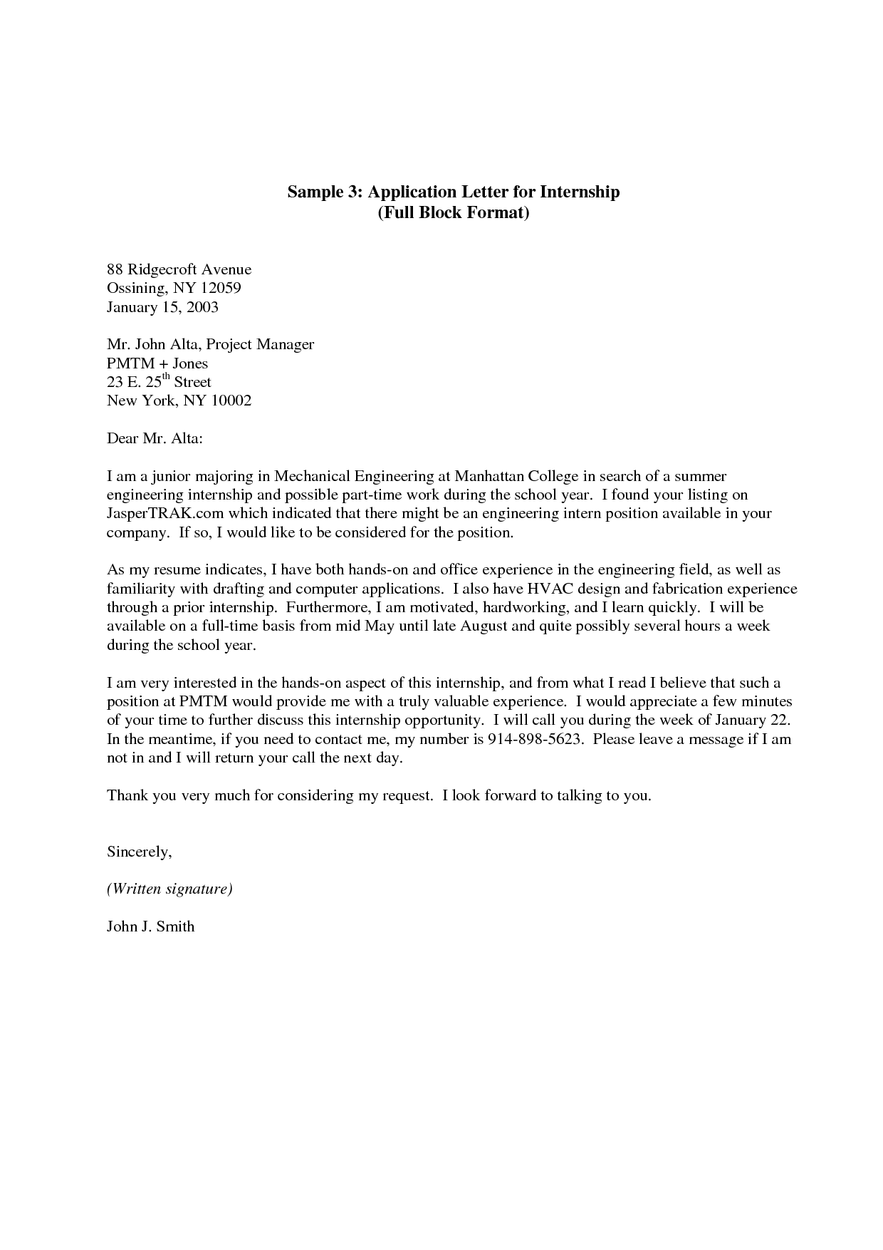 cover letter sample for internship