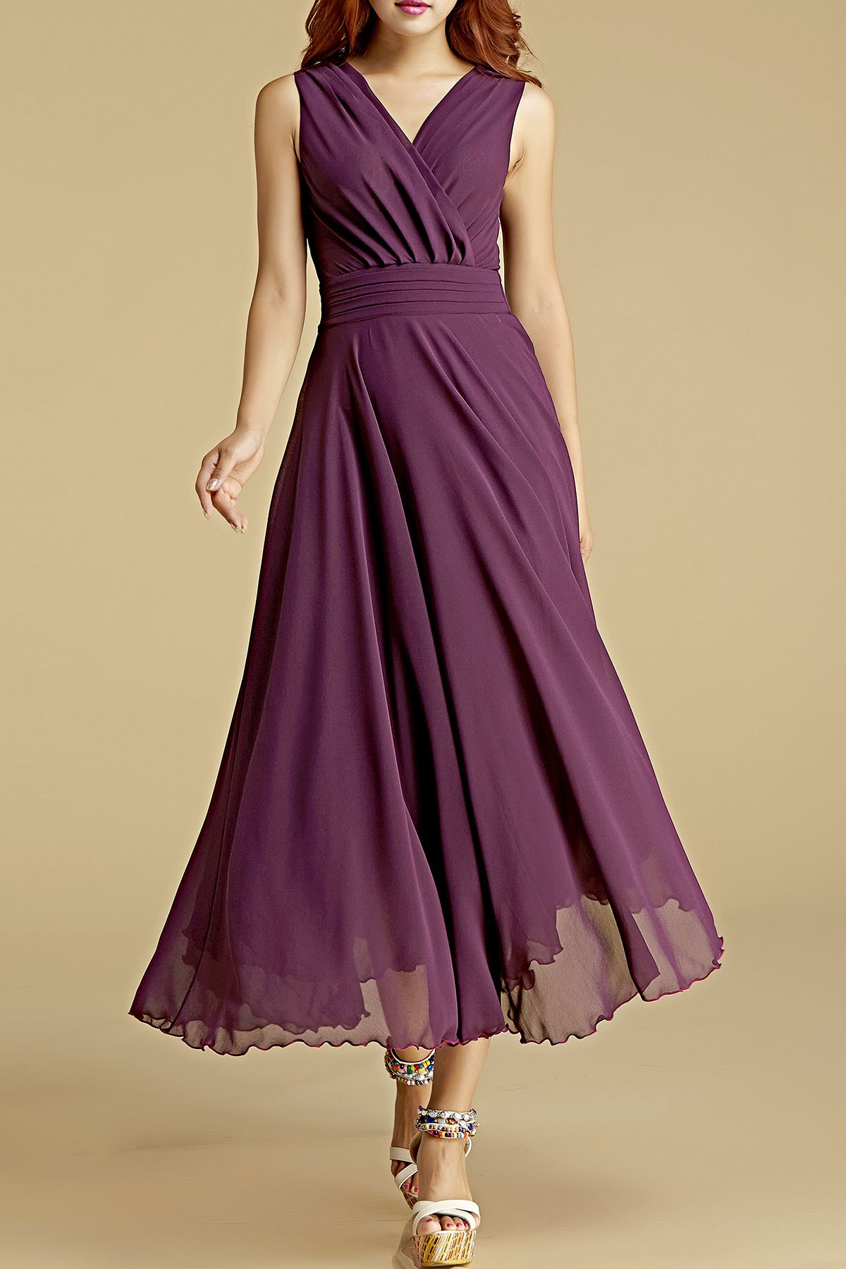 Crossed V Neck Chiffon Dress