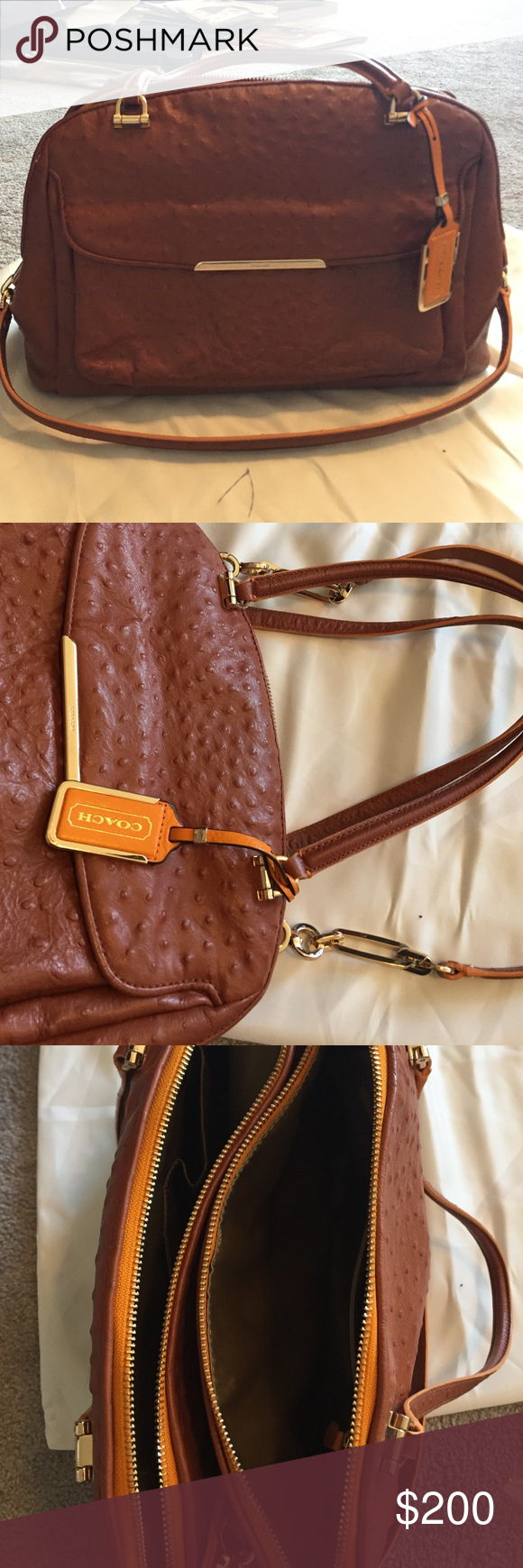 Rare coach pebbled leather bag Beautiful chestnut leather with gold hardware and orange trim. Excellent condition comes with dust bag. Long adjustable strap and short handles 3 large compartments 2 that zip and inside small pockets Coach Bags Satchels